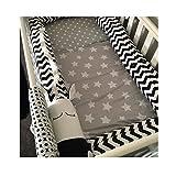 Tour de lit, 200cm Barrière de Sécurité Zèbre Noir et Blanc pour Lit de Bébé, 100% Coton