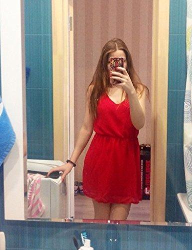 Minetom Abito Da Donna Vestiti Moda Estivi V Neck Senza Maniche Eleganti A-Line Allentate Vestito Colore Solido Sundress Rosso