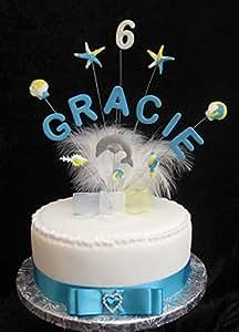 Dauphin Décoration de gâteau d'anniversaire à personnaliser avec nom ou âge