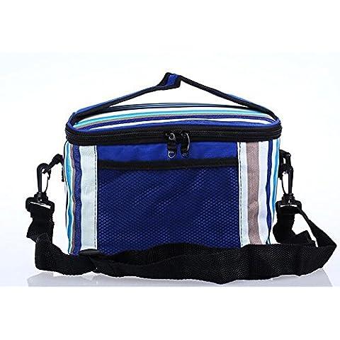 Togather® nuevo gran Picnic al aire libre capacidad cesta Bolsa almuerzo cajas aislados refrigerador cesta plegable, almuerzo portátil bolsa de cremallera organizador caja de almuerzo (Raya