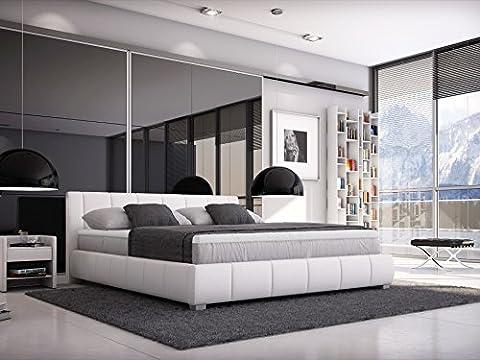 SAM® Designer-Boxspringbett Leon in weiß mit H3 Bonellfederkern-Matratze, extra dickem