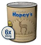 Hopey's hypoallergenes Hundefutter Hirsch und REH für Hunde, 86% reines Muskelfleisch vom Wild, 6X 850g Dosen