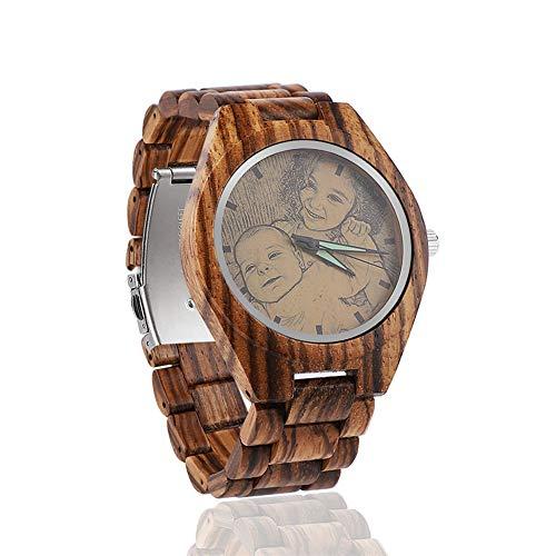 Personalisierte Uhr mit Foto Herren Armbanduhr Natürliche Hölzerne Armbanduhr für Männer-Gewohnheit mit irgendeinem Bild und Mitteilung