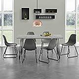 [en.casa]® Esstisch mit Hairpinlegs - Beton-Optik - 160cm x 75cm x 77 + 6 x Design-Stuhl - Dunkelgrau - im Set