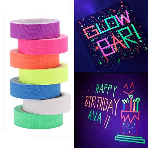 (Klebeband für UV-Schwarzlicht, reaktiv, 4,6 m pro Rolle, fluoreszierendes Tuch, für Party-Dekoration, 7 Stück)