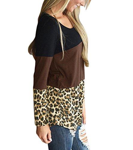 Rangeyes Donna Sweatshirt Vestito Manica Lunga Pullover Casuale T-shirt Abito Rotondo Collo Beach Vestiti Sweater A-Line Shirts Marrone