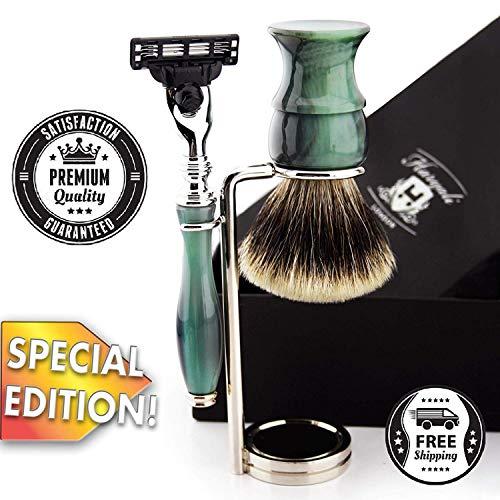 Luxus Silber Spitze Badger Rasierset & Gillette Mach3 Premium Razor + Edelstahlständer Special Limitierte Auflage, beschränkte Auflage