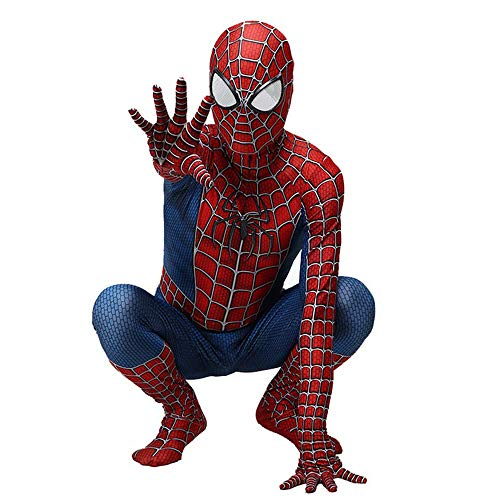 RNGNBKLS Kind Erwachsene Spiderman Homecoming Kostüm Halloween Karneval Cosplay Spiderman Anzug Spandex/Lycra 3D Druck Spiderman Verkleidung,Child-L