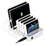 PRITEK USB Ladestation, 6 Ports Universell Ladegerät Für Mehrere Geräte Handys Tablets 50W 5V/10A Dockingstation für Apple iPhone iPad Samsung Smartphones (Silber)
