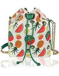 Kleio Stylish Bucket Sling Bag With Draw String For Girls / Women (White) (ECO2010KL-MELW)