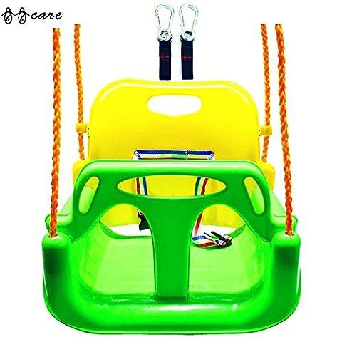 BBCare® 3-in1 Kinder und Teenager Schaukel mit Haken und Aufhänger Gürtel (Grün)