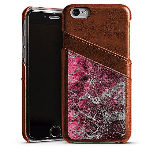 Apple iPhone 5 Housse Étui Silicone Coque Protection Pierre Structure Motif look Étui en cuir marron