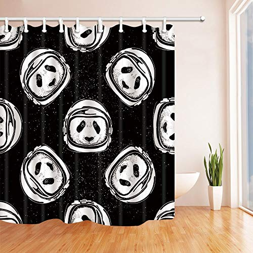 gohebe Abstrakt Panda mit Astronaut Helm Travel in Platz Bad Vorhang Polyester Stoff wasserdicht Duschvorhang für Badezimmer 180,3x 180,3cm Vorhänge Dusche Haken im Lieferumfang enthalten