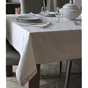 Tischdecke und Servietten - Baumwolle 100% Muster QUADRIFOGLIO Farbe weiße und Natur