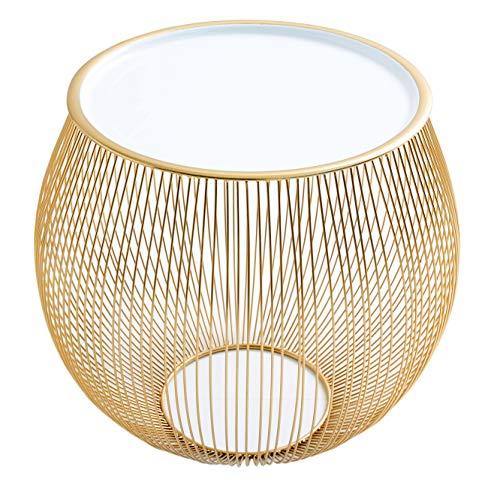 Riess Ambiente Eleganter Couchtisch Beistelltisch Storage 51cm Gold Aufbewahrungskorb mit Tablett