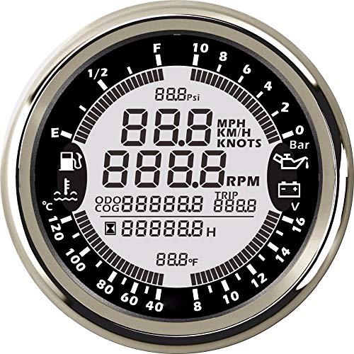 YELLOL Tachimetro GPS, Misuratore di Calibro Multifunzione 6 in 1 per Auto 85Mm Tachimetro GPS, per Autocarro Contagiri LCD Digitale per Contagiri 0-10 Bar,B