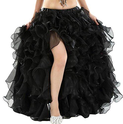 YuanDian Damen Einfarbig Professionelle Bauchtanz Spliss Öffnungs Swing Long Rock Tanzkostüm Schwarz (Nicht inbegriffen ist ()