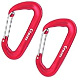 Gimars 12 kN Aluminum Bent/Wire Gate Carabiner - Lightweight Heavy duty Biners Clip Hammock Hook- Best For Hammock Suspension, Clipping On Camping Accessories, Keychains. Anodized Red (Set Of 2)