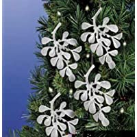 "Christmas Tree Decoration 7"" 3D Acrylic Frosted Mistletoe Leaf, Set of 4"