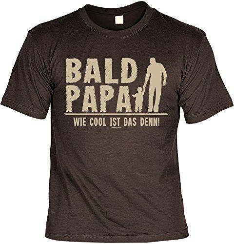 Vatertags T-Shirt - Bald Papa - Wie cool ist das denn - cooles Shirt mit lustigem Spruch als Geschenk für Väter mit Humor Braun