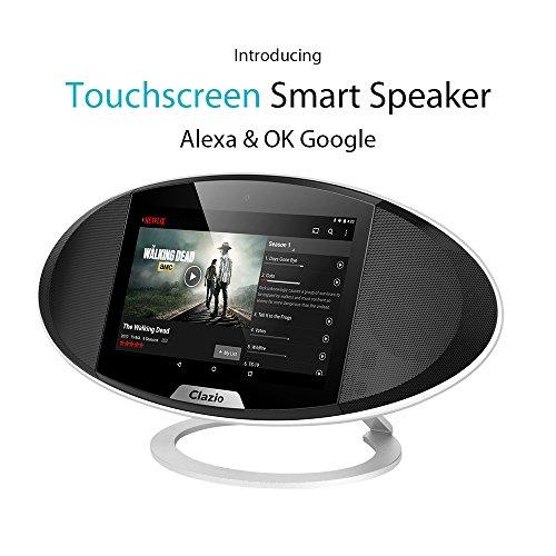 """Clazio Wireless Touchscreen Smart Bluetooth Lautsprecher, WiFi Android OS, 7 """"Portable Speaker mit Voice Control für Alexa oder OK Google zu perfekten Lautsprecher für Golf, Strand, Dusche & Home, Schwarz"""