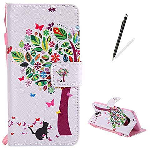 Samsung Galaxy S8 Plus Premium Flip Leather Case,[with Free Black Touch Stylus] KaseHom Magnetic Closure Wallet Type Elegant Colourful Tree Butterfly Unique Pattern Design with [Card Slots][Anti-Scratch Bumper] Multi-function Protective Cover Holster for Samsung Galaxy S8 Plus