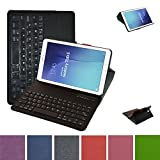 Samsung Galaxy Tab E 9.6 Bluetooth Tastiera Custodia,Mama Mouth Staccabile Bluetooth Tastiera (layout inglese) custodia in PU di cuoio pelle caso Case per 9.6' Samsung Galaxy Tab E 9.6 T560 T561 Android Tablet,Nero