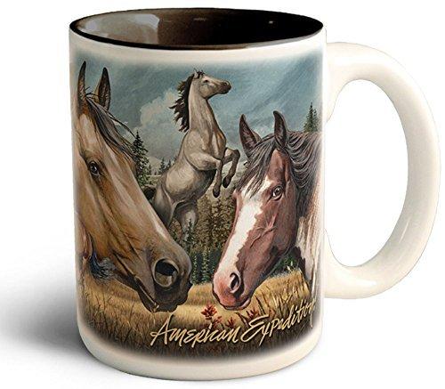 Wildlife Collage Serie 444ml Steingut Kaffee Tasse (American Mustang) American Wildlife Serie
