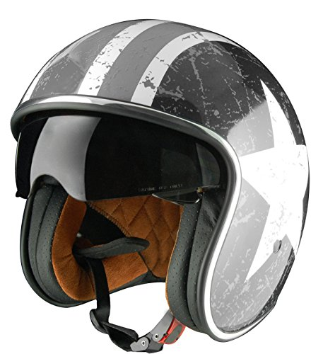 Origine Helmets - Sprint Rebel Star Casco Abierta, Blanco/Gris, L
