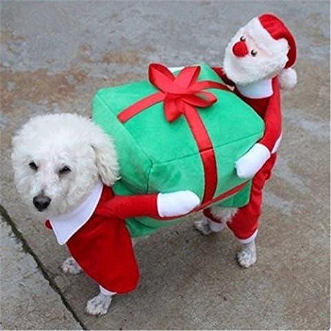 Cystyle Haustier Hund Katze liefert Weihnachten Halloween Welpen Weihnachtsmann zu geben Geschenke Kleidung Kostüme (Kleiner Hund Kostüme)