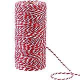100 Meter Baumwoll Schnur Weihnachten Süßigkeiten Bäcker Bindfäden 2 mm Durchmesser für Geschenkpapier Weihnachten Dekoration DIY (Rot und Weiß)