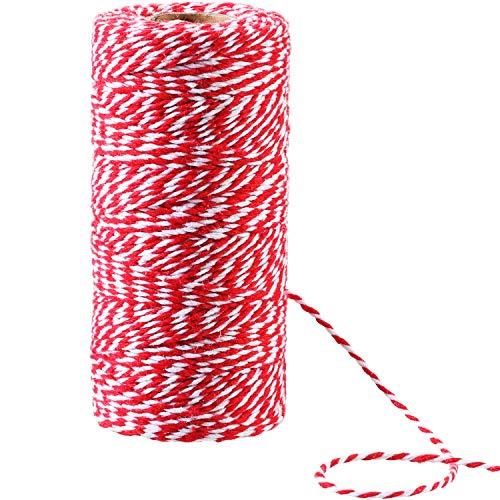 100 metri spago rosso, bianco e verde in cotone filo di natale caramella panettieri 2 mm di diametro per regalo avvolgimento decorazione di natale fai da te (rosso e bianco)