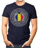 OM3® - Romania - Herren T-Shirt Rumänien Wappen Fußball Trikot EM'16 WM Championship Vintage Navy M
