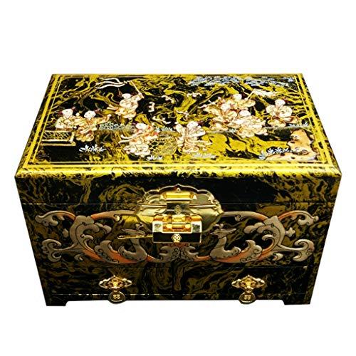 Wang liqing 2019 lucky fortune - portagioie in stile retrò, dipinto a mano, laccato a mano, mobili orientali cinesi e regali ad alta capacità (oro)