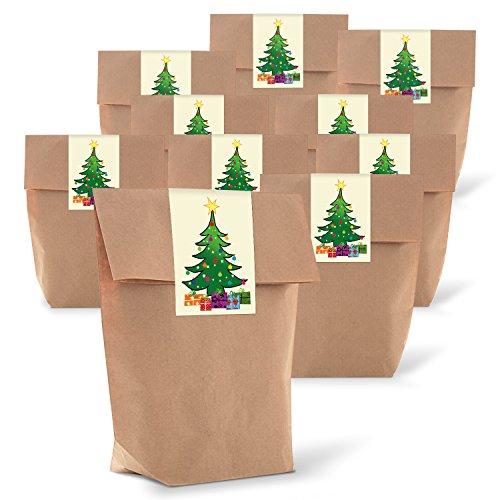 25 braune natur weihnachtliche Verpackung Geschenk-Tüten Kraftpapier + 25 Aufkleber Weihnachten BAUM grün gelb rot blau Weihnachtsverpackung Geschenk Kunden give-away Geschenkaufkleber -