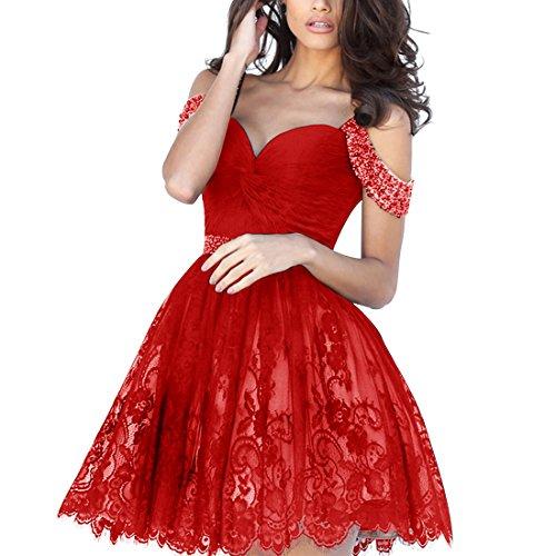 Find Dress Femme Elégant Style Sexy Robe de soirée/Cocktail/Mariage Courte Hors de L'épaule en Dentelle avec des Perles Rouge
