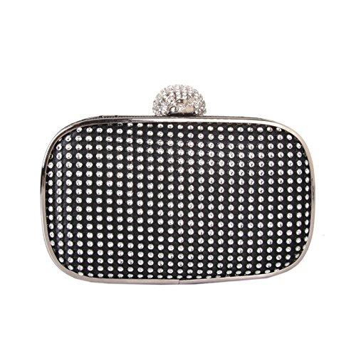 Diamond Abendessen Tasche Abendtasche braut Handtasche Crossbody-tasche Kette black