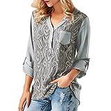 UFACE Damen Damen-Spitze-Rundhalsausschnitt-Hülsen-Oberseiten-Frauen-Damen-Spitze-Knopf-T-Shirt Lang Sleeves Oberseiten-Bluse(Grau,EU/48CN/XL)