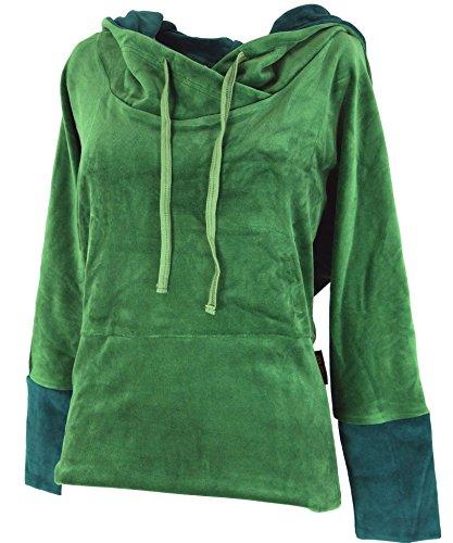 Samt Hoody Boho chic, Langarmshirt mit Kapuze / Pullover, Longsleeves & Sweatshirts Grün