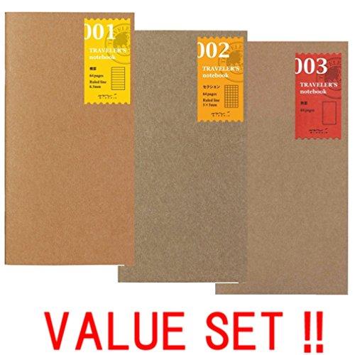 Midori 001Notizbuch, Reisenotizbuch) liniert (Refill 002) Gitter (Refill 003) blanko Value Set