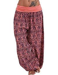 Muyise Damen Plus Size Haremshose Mit Gesmoktem Bund Print Lose Beiläufige Elastische High Waist Weitehose Yoga Hosen Travel Lounge Pants Freizeithose Trousers