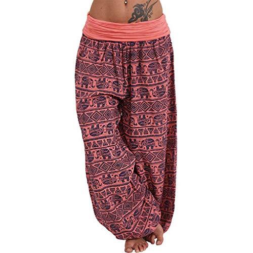 Yanhoo Frauen Damen gedruckte Band Breite lose Bein Hosen beiläufige Hosen der Frauen 966 Damen Freizeithose mit lässigem Print