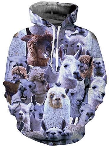 Spreadhoodie 3D Unisex Sweatshirt Pullover Hoodies Lustige realistische Alpaka gedruckt Pullover mit Kapuze Langarm Sweatshirt mit Känguru-Tasche grau S