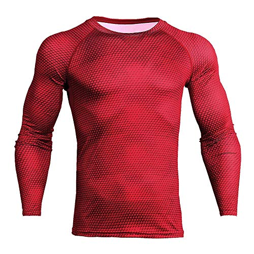 Crazboy 2019 Mann-Trainings-Eignungs-Sport-Gymnastik-laufende Yoga-athletische Hemd-Spitzen-Hosen-Sätze(XXX-Large,Rot)