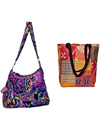 Indiweaves Combo Pack Of 1 Cotton Kantha Tote Bag And 1 Cotton Shopper Bag (Pack Of 2) 82100-130169-IW-P2
