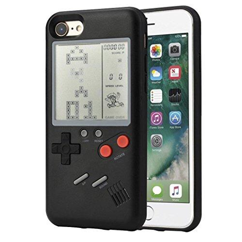 F-FISH Estuche iPhone X / 6 / 6s / 7/8 Plus Funda de Estuche ABS Estuche Protector Que Puede Jugar al Juego clásico [Gameboy] [Tetris] (iPhone 7/8 Plus, Negro)