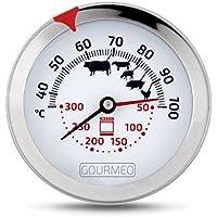 GOURMEO termómetro 2-en-1 (temperatura del horno y carne) de acero | con 2 años de garantía de satisfacción | termómetro de asados, termómetro de grill y parrilla, termómetro de horno