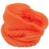 Bluelans Kinderschal, Feinstrick Schal, einfarbiger Loop Schlauchschal, Feinripp Strickschal, Loopschal, Rundschal (Orange)
