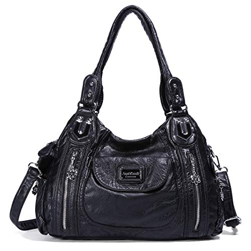 Damen Handtaschen Umhängetasche Hobo Taschen Tote Schultertaschen Henkeltasche Handtasche (AK812 Black) -