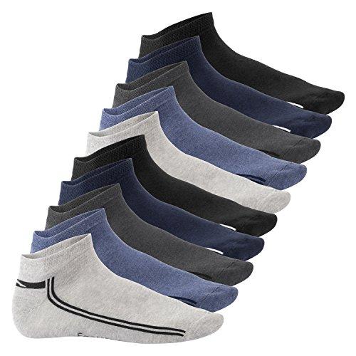Footstar 10 Paar SNEAK IT! Sneaker - Schwarz-Weiss mit Streifen - 47/50